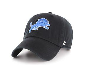 Detroit Lions 47 Brand Black Clean Up Adjustable On Field Cotton Dad Hat Cap