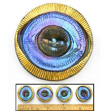 27mm Vintage Czech Glass MOD OPTICAL EYE 3-D Blue/Purple Flash AB Buttons 4pc