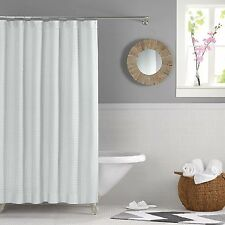Real Simple Retreat White Shower Curtain Geometric Waffle Quilted Embroidered