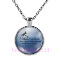 Dragonfly Memorial Poem Photo Tibet Silver Cabochon Glass Pendant Chain Necklace