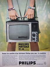 PUBLICITÉ DE PRESSE 1966 TÉLÉVISEUR PHILIPS PORTABLE 28 CM - ADVERTISING