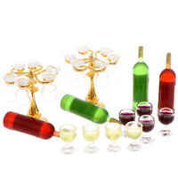 13Pcs/set 1:12 Dollhouse Miniature Wine Bottles Cup Holder Dollhouse Accessories