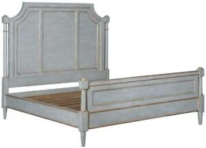 BED GRAYSON KING PEWTER GRAY SOLID WOOD GOLD ACCENTS OLD WORLD DISTRESSED