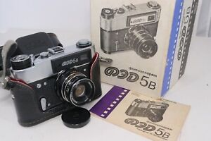 Vintage FED 5B 35mm Film Camera Russian Rangefinder Looks Unused In Box w/ Lens