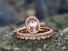 2.80 Ct Oval Cut Morganite & Diamond Wedding Trio Ring Set 14K Rose Gold Over