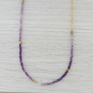 New Nina Nguyen Amethyst Bead Necklace Sterling Gold Vermeil Adjustable 38""