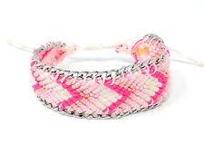 Handmade Goa Boheme Freundschafts Perlen Armband Quaste Pink Rosa Silber