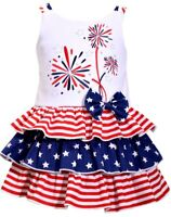 NWT Bonnie Baby Americana Patriotic 4th of July Fireworks Girls Ruffle Dress