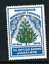 Denmark 1915 Norrebros Christmas stamp (tree) no gum