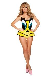 ADULT sexy ROMA canary CUTIE tweety BIRD cosplay HALLOWEEN party COSTUME romper