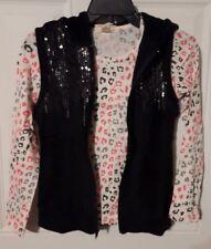 New Girls 2pc Self Esteem Black Sequin Faux Fur Vest w Long Sleeve Shirt Size L