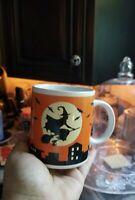 HALLOWEEN VINTAGE WITCH ON BROOM BLACK COFFEE TEA MUG