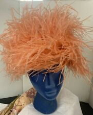 Vintage Hat Coral Pink Ostrich Marabou Feather Party Dress 50s 60s Glam Diva