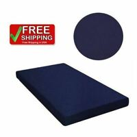 "6"" Twin Size Quilted Top Bunk Bed Futon Fiber Mattress Dorm Kids Bedroom BLUE"