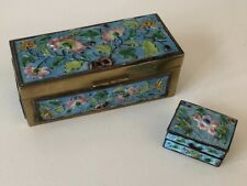 Pair Antique Chinese Enamel on Brass Hinged Boxes Stamp Box & Pill Box Lot