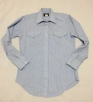 Flying R Ranchwear Mens 15 - 33 Pearl Snap Western Shirt Blue Striped USA Made