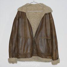 Wilsons Leather Shearling B3 Aviator Bomber Flight Jacket Hooded Coat Large