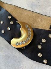 Vintage belt 1980s Susan Hyman Abstract design gold metal big buckle Med/Large y