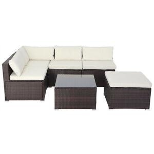B-Ware Gartensofa Polyrattan Lounge braun medium, Garnitur Couch Sitzen Garten