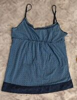 Heritage 1981 Blue Print Spaghetti Strap Top Boho Cotton M Ladies Juniors