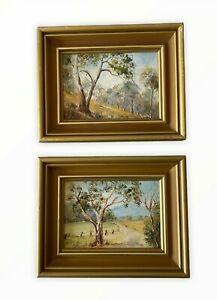 2 Small Framed Original Paintings Of Australian Landscapes Karin Burggraf 1981