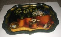 Vintage Ian Logan Metal Platter Tray Hand Painted by Artist Lucy Neil Made in UK