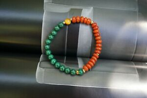 Natural Red Agate Green Malachite Beaded Bracelet 6MM Multi-beads Stretch