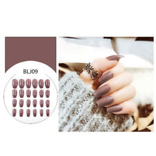 24pcs Fake Finger Nails Color Acrylic Artificial False Full Cover Nail Art TipNT