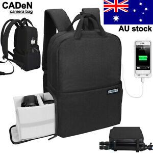 CADeN Camera Bag Backpack w/USB Charging Port for DSLR SLR Waterproof Raincover