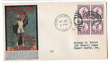 US 1932 Olympic Village Cachet Summer Opening Day Cover Sc 718 3c Blk of 4