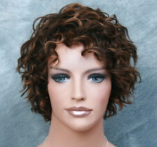 100% HUMAN HAIR Wig Curly/Wavy Short Brown  Auburn Mix WIG JGTT 4-30