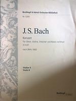 J S Bach Concerto for Oboe Violin Sheet Music BWV1060 Violin 2 Part Only S113
