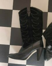 Vintage Black Cowboy Boots leather and suede UK 5