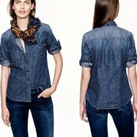 J.Crew Women's Button Front Star Dot Keeper Chambray Shirt Top Size 2 Blue