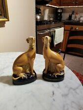 Antique Staffordshire Porcelain Greyhound/Whippet Dog Bookends
