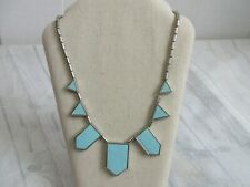 House of Harlow 1960 Blue Silvertone Leather-Inlay Station Necklace Geometric
