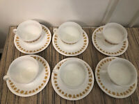 Set/6 BUTTERFLY GOLD CORELLE Corning Pyrex 8 Oz. Coffee/Tea Cups And Saucers