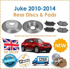 For Nissan Juke 2010-2014 Two Rear Solid 292MM Brake Discs & Brake Pads Set New