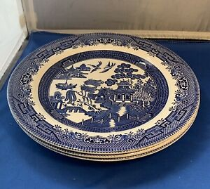 Vintage Blue Willow Churchill England Dinner Plates Dishes Microwavable Lot Of 3
