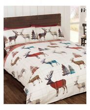 Christmas Woodland Stag Queen Quilt Duvet Cover Set
