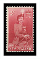 New Zealand 1954 Queen Elizabeth QEII 5/- Carmine Stamp SG735 Fresh MUH 7-6