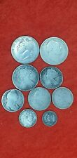 More details for 9 english silver milled coins. inc. queen anne