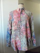 Vintage Posh Boy Rayon Multi Color Geometric Print Button Front Sport Shirt - M