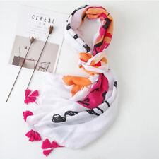Stylish Ladies Soft Long Scarves Feather Pattern Shawl Tassel Wraps Scarf BS