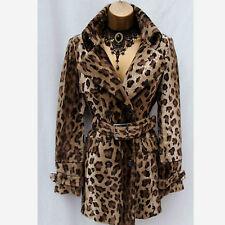 KAREN MILLEN In Finta Pelliccia Leopardo Stampa Morbido Elegante Posh MAC Trench UK 10