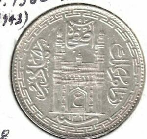 Hyderabad Rupee 1943 AD AH1362 Yr 34 Y#63