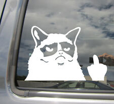 Angry Cat Flipping Finger - Middle Funny Humor - Car Vinyl Decal Sticker 02013