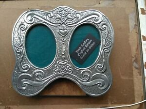 Vintage English Pewter Double Photo Frame