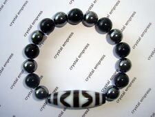 Feng Shui - Tiger Tooth Dzi with 8mm Black Onyx and Hematite