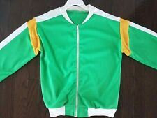 Vintage 80's Nylon Terry Cloth Trimmed Full Zip Track Jacket Youth Size 7-10